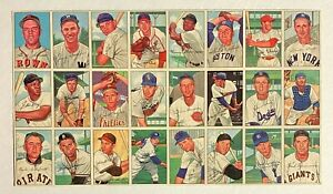 1952 Bowman Baseball Uncut Sheet (24) Cards w/ Willie Mays #218 Giants HOF