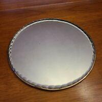 """Vintage Antique Round Thick Beveled Glass Dresser Mirror Vanity Tray 7.5"""""""