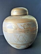 PORCELAIN TURQUOISE AND GOLD LIDDED GINGER JAR BY JOSIE M. PENZATO