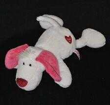 Peluche doudou chien couché Love NICI blanc rose coeur rouge 32 cm allongé TTBE