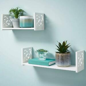 Set of 2 White Floating Wall Shelf Display Unit Storage Deco