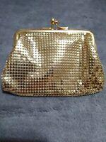 Vintage WHITING & DAVIS CO. Gold Metal Mesh Kiss Lock Coin Purse Pouch