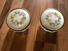 Two Pretty Lidded Glass Dressing Table Pots With Embroidered Lids