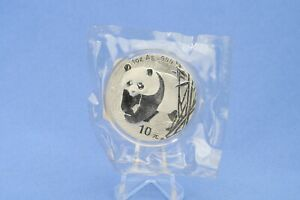 China 10 Yuan 2002 Panda  1 oz  Silber *St/Bu * gekapselt in Folie