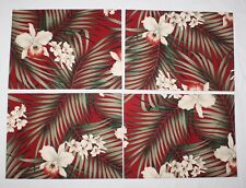 4 White Orchid Red Placemats Tropical Green Leaves Rectangular