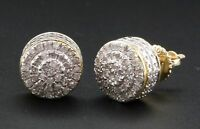 0.50Ct Round Brilliant Cut Diamond Cluster Stud Earrings 14K Yellow Gold Finish