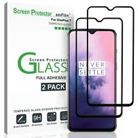 OnePlus 7 amFilm Full Cover Tempered Glass Screen Protector (2 Pack, Black)