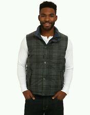 NEW Prana Reversible Down Vest Charcoal / Plaid Mens Size Medium