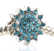 HOT Sky Blue sunflower CZ Charm Beads Fit European Bracelet Necklace Chain #V53
