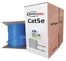 Cat5e Plenum UL 1000ft solid Bare Copper Etherne CMP Indoor 350 Mhz Cable Blue