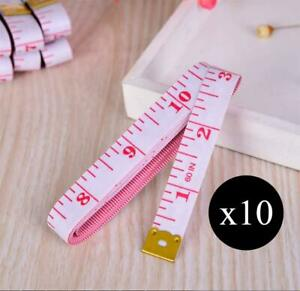 New LOT Of 10 TAILOR TAPE MEASURES White Pink Durable Soft Measuring Tape Sewing