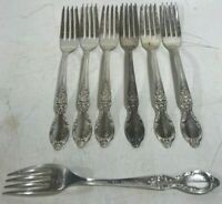 "7"" Victorian Rose Rodgers & Sons Silver Plated Fork - Lot of 7! Pre-owned!"