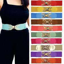Womens Belts Wide Strap Buckle Elastic Stretch Women Belt Waistband Faux Leather