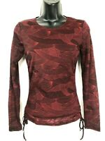 Kenneth Cole women's red & black top size S ruched sides, stretch, tie sides