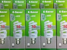 10x E-Saver, Energy Saving CFL Light Bulbs, Spiral, 12w, Cool White, B22 Bayonet