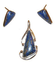 Earrings Lapis Lazuli Set Mexico Taxco .925 Sterling Silver Pendant &
