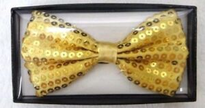 Gold Bow Tie Glitter Sparkly Sequin Dicky Dance fancy Dress Christmas Gift Set