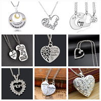 Mothers Day Family Gift Crystal Pearl Love Heart Mum Mom Pendant Necklace Chain