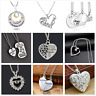 Mother's Day Gift Crystal Mom Love Heart Pendant Chain Necklace Charm Silver New