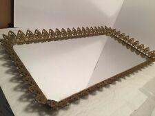 Vintage Gold Perfume Jewelry Trinket Tray Ornate Brass Mirror for Vanity Display