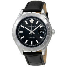 Versace Hellenyium Black Dial Automatic Mens Leather Watch VZI010017