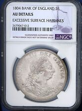 1804 UK Great Britain 5 Shillings Dollar Silver Coin NGC AU S.3768