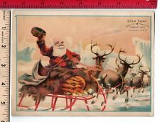 Bald SANTA CHRISTMAS Reindeer Sleigh Star Soap Zanesville O.  Trade Card
