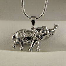 925 Sterling Silver Filled Elephant Pendant Necklace Chain Gift Idea UK N25