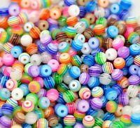 200 Stück 6mm Multicolour gestreiften Acryl Perlen Spacer Beads Set A8A9