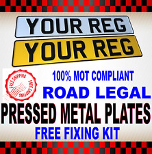 HIGH QUALITY PRESSED METAL NUMBER PLATES REAR & FRONT PAIR 100% UK ROAD LEGAL