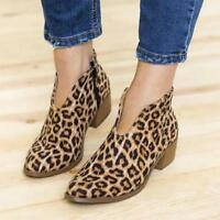 Fashion Women Booties Low Heels Block Ankle Boots Lady Leopard Zip Up Shoes Size