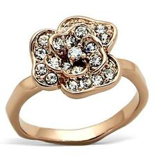 Rose Gold Flower Deco Ring Cubic Zirconia Victorian Art Vintage Style Size 8 USA