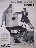 PUBLICITÉ DE PRESSE 1951 MACHINE A LAVER AUTOMATIQUE BENDIX - ADVERTISING