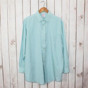 Brooks Brothers MADISON Fit Button up Dress Shirt Mint Green Check 16 1/2 33