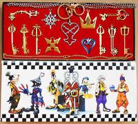 New 13pcs Kingdom Hearts II KEY BLADE Necklace Pendant+Keyblade+Keychain Set
