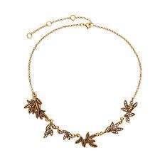 CZ Crystal Pavé + Textured Leaves Petits Bijoux Statement Necklace Vintage Gold