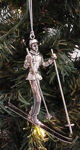 Skier Metal Skiing Christmas Ornament