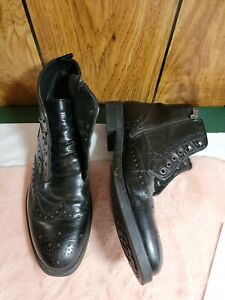 Geox Respira Men's Leather Brogue Wingtip Ankle Boots Shoes 11.5 45 Lace up Zip