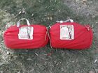 Vintage+Pair+1974+COLEMAN+Red+w%2FBlue+Floral+Int+Zippered+Sleeping+Bags
