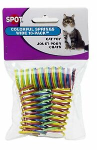 Ethical Pet Spot Colorful Wide Cat Springs 10 Pk Roll & Chase Cat Ferret Toy