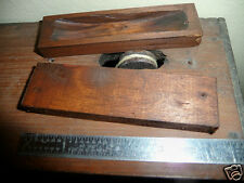 2 Wood Pulley Dust Covers With Nails - Antique OG Clock Part Wooden