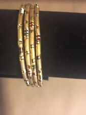 Indian Ethnic 4 Bangles Set Women jewelry Gold Plated Size 2'8