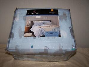 Cuddl Duds 100% Cotton Heavyweight Flannel Sheet Set Llamas Full Size Lt Blue