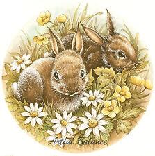 Ceramic Decals Bunny Rabbit Daisy Flowers Scene