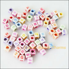 80 New Charms Acrylic Plastic Square Cube Letters Spacer Beads Mixed 6mm