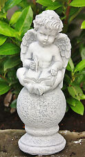 Stone Figure Angel on Ball with Book Cast Frost Resistant Garden New PO-958