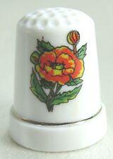 Vintage Collectible Souvenir Thimble Orange with Yellow Flowers - Porcelain