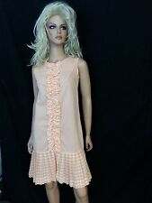 Vtg 60s Mini Dress Orange White Checkered Ruffle Pleated GOGO Junior Petite MOD