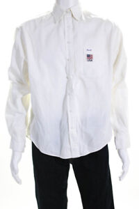 Faconnable Mens Cotton Long Sleeve Button Up Shirt White Size L