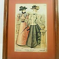 Framed Page Advertise The Delineator Magazine Nov 1896 Visiting Toilettes 12x15